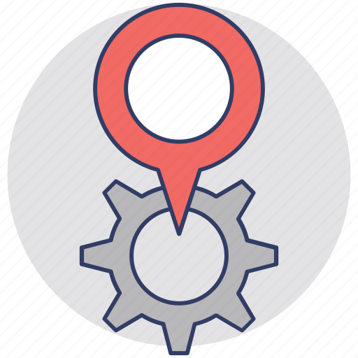 factory, garage, industry, map pin with gear, service location icon