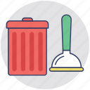cleaner, cleaning equipment, housekeeping, janitor services, mop and trashcan icon
