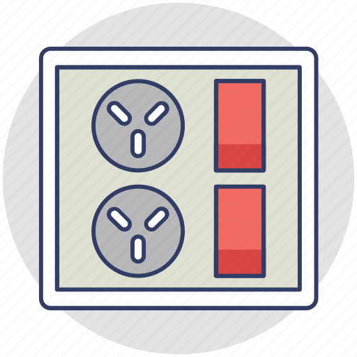 electric outlet, electricity, electricity plug, power socket, switchboard icon