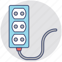 electric extension cord, electrical plugs, extension cord, extension cord reel, multiple outlet icon