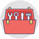 hand tool kit, mechanics, technician, tool box, tool kit icon