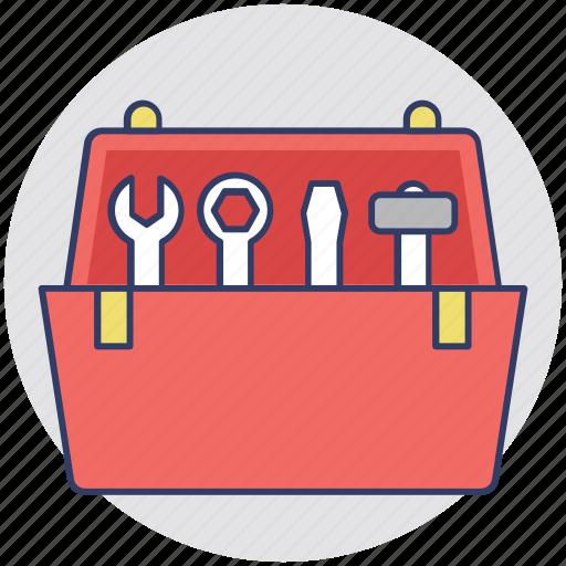 hand tool kit, mechanics, technician, tool box, tool kit icon