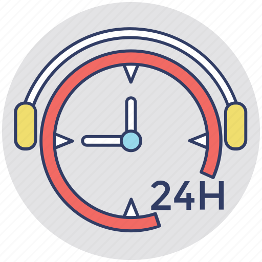 24 hours, all day, call service, customer care, customer service icon
