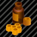 3, face, honeycomb, isometric, mixture, serum, woman icon