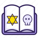 black magic, book, curse, magic, scripture, skull icon
