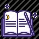 spell, magical, sorcery, moon, magic, ward, books icon