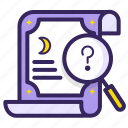 forcast, fortune, looking, magnifying, predict, question, teller icon