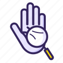 predict, hand, forcast, handwriting, magnifying, horoscope, palm icon
