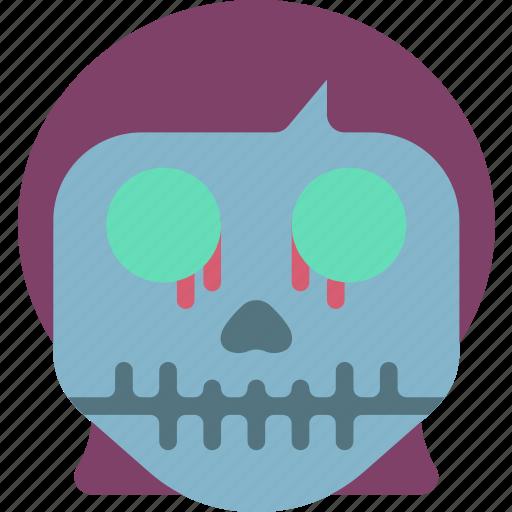 creepy, girl, halloween, horror, scary, skull, spooky icon