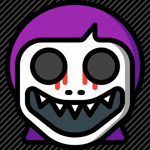 creepy, demon, emojis, girl, halloween, scary, spooky icon