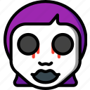 creepy, dead, emojis, girl, halloween, scary, spooky icon