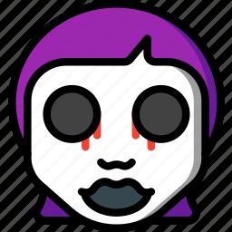 creepy, dead, emojis, girl, halloween, scary, spooky icon