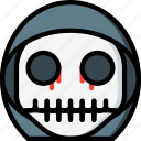 boy, creepy, emojis, halloween, scary, skull, spooky icon