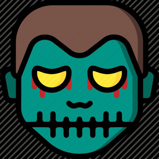 boy, creepy, emojis, halloween, scary, skull, spooky icon