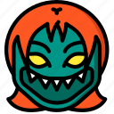 creepy, demon, emojis, girl, halloween, horror, scary icon