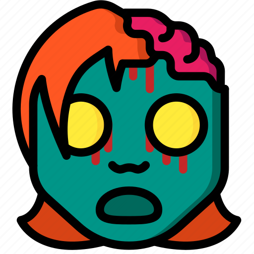 creepy, emojis, girl, halloween, scary, spooky, zombie icon