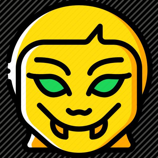 creepy, emojis, girl, halloween, scary, spooky, vampire icon