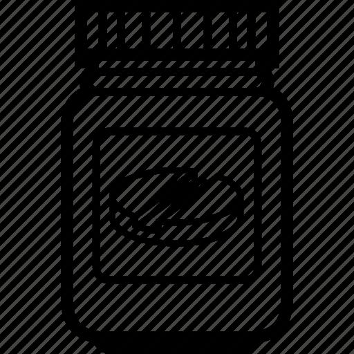 drugs, jar, lozenge, medicine, pellet, plastic, tablet icon