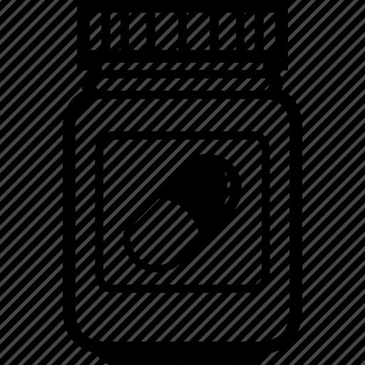 dragee, drug, jar, medicament, medicine, pill, platic icon