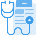 care, data, equipment, hospital, information, medical, stethoscope icon