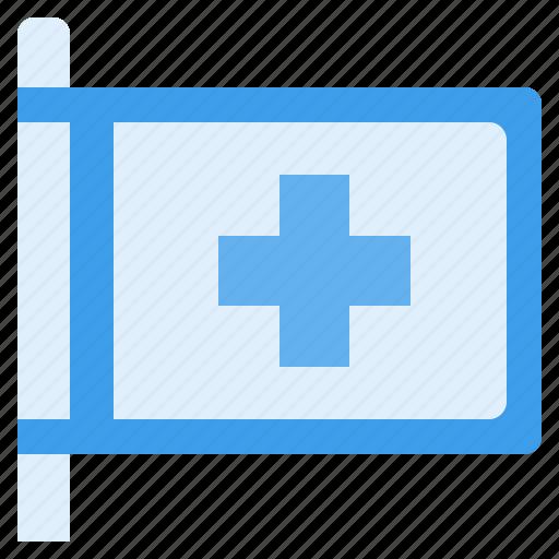 care, clinic, flag, health, hospital, light, sign icon