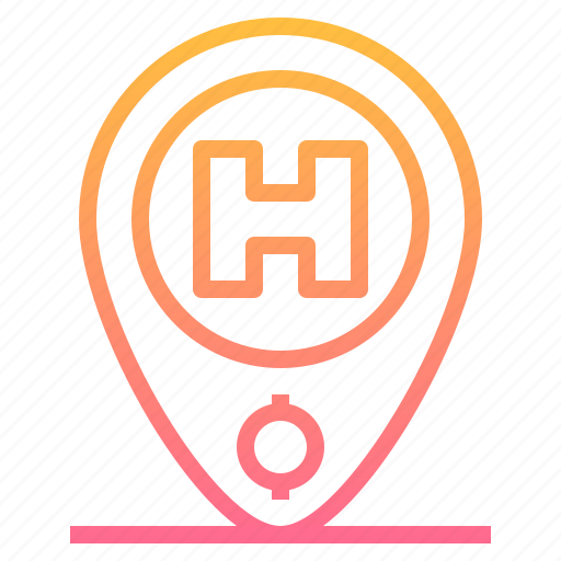 gps, hospital, hostel, hotel, location, medical, pin icon