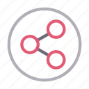 analytic, connection, network, sharing, sign icon