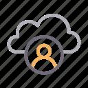 cloud, database, profile, storage, user icon
