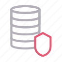 database, protection, secure, server, shield icon