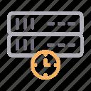 database, datacenter, server, stopwatch, time icon