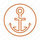 anchor, anker, sailing, sea, vacation, water icon