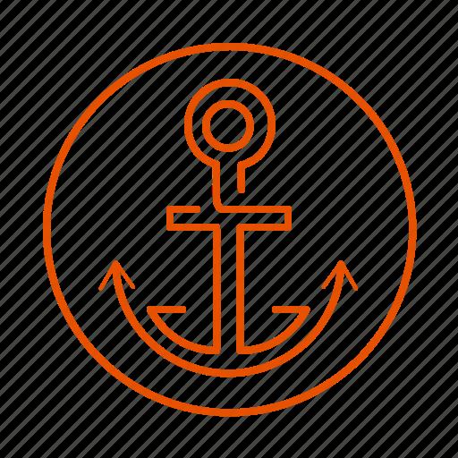 anchor, anker, sailing, sea, vacation, water icon