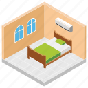 accomodation, hotel booking, hotel room, master bedroom, room reservation icon