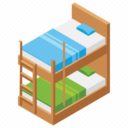 double deck bed, kids bed, kids bunk, kids room, room furniture icon
