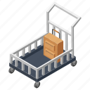 hotel trolley, luggage delivery, luggage trolley, room service, waiters trolley icon