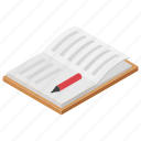 article, book, bookish knowledge, novel, record book, story book icon