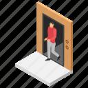 check out, exit area, exit door, hotel exit, room exit icon