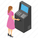 24 hour banking, automated teller machine, card money, instant banking, operating atm machine icon