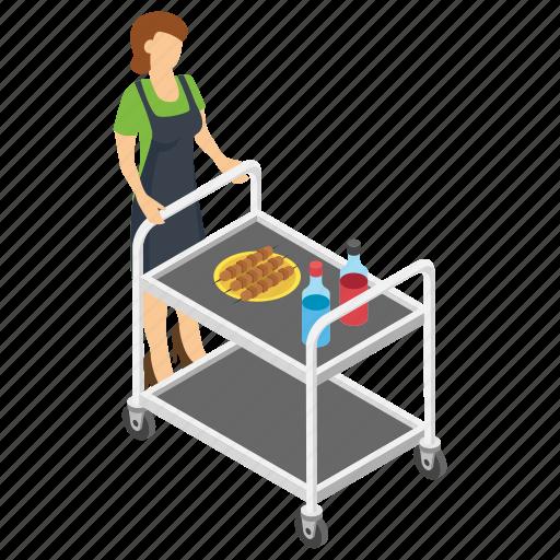 food delivery, food serving trolley, room service, serving trolley, waiters trolley icon