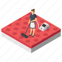 carpet cleaner, hotel servant, room cleaning services, room sweeping, vacuum cleaning icon