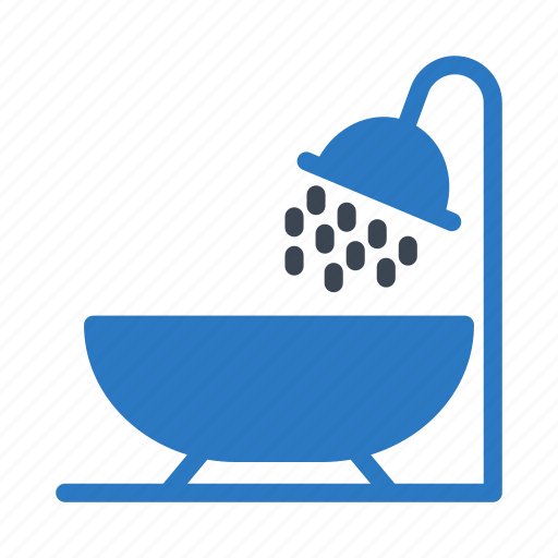 bath, drops, shower, tub, water icon
