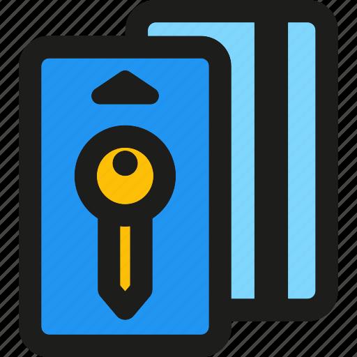 card, door, hotel, key, protection, secure, unlock icon