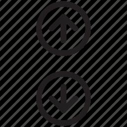 arrow down, arrow up, arrows, arrows indication, arrows sign icon