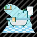 bath, bathroom, bathtup icon