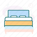 bed, bedroom, springbed, twin bed icon
