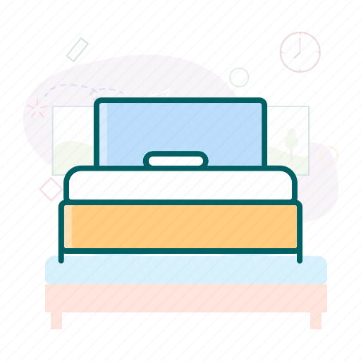 bed, bedroom, single bed, springbed icon