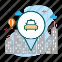 car, location, map, taxy, taxy location icon