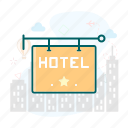 board, hotel, sign icon