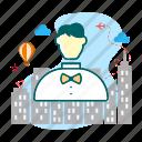 chef, hotel, restaurant, waiter icon