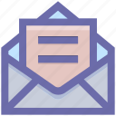 email, envelope, letter, mail, message, open letter icon